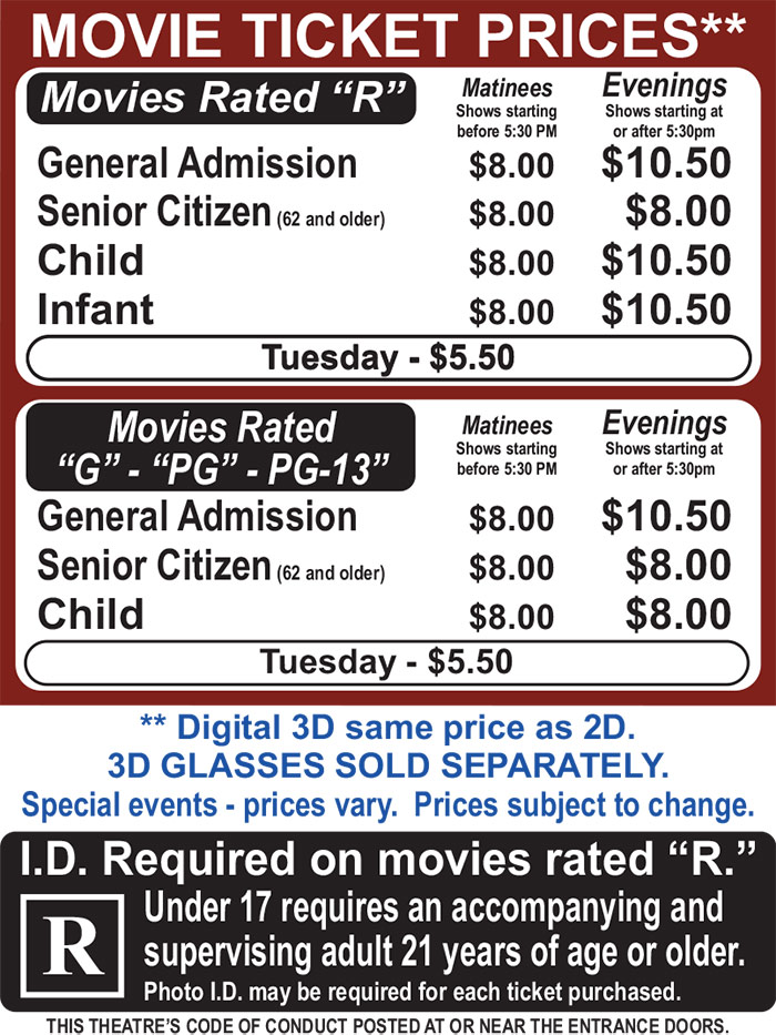 Columbia Cinema Ticket Pricing