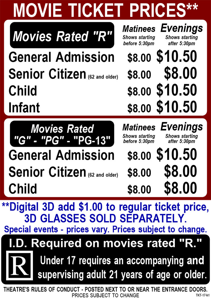 hermiston cinema ticket pricing