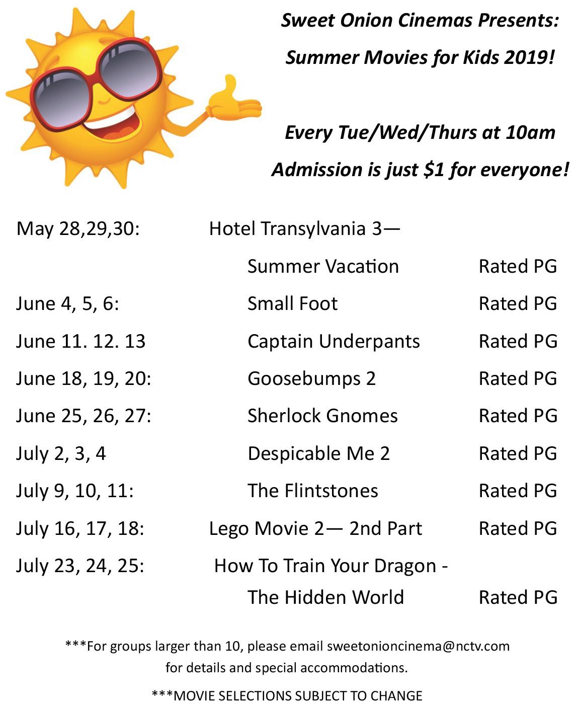 Sweet Onion Cinemas Summer Movies For Kids