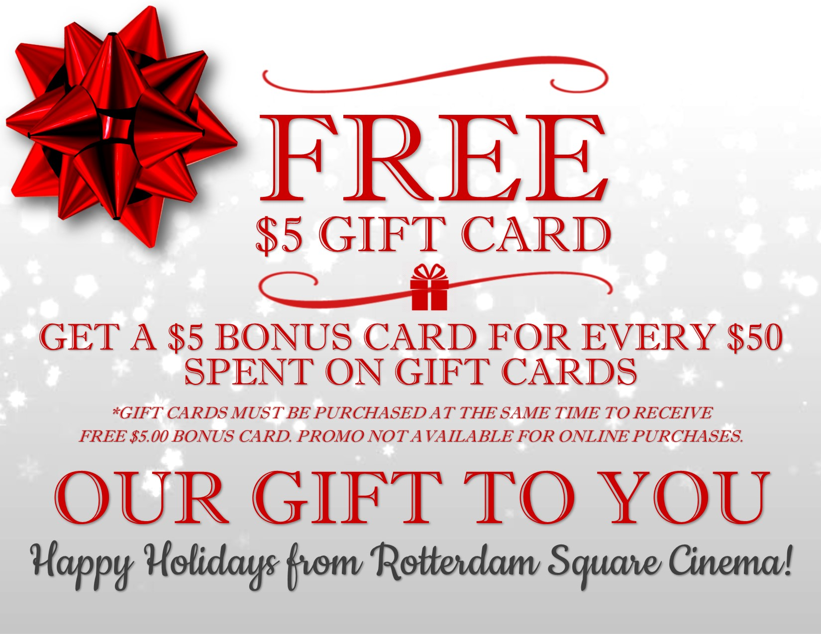 Holiday gift card promotions